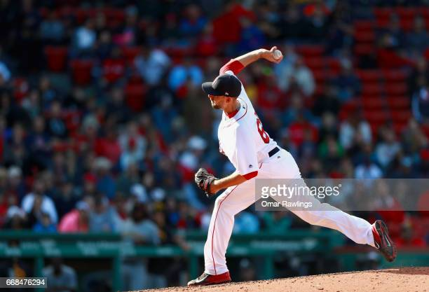 Matt Barnes of the Boston Red Sox pitches in the top of the ninth inning during the game against the Pittsburgh Pirates on April 13 2017 at Fenway...