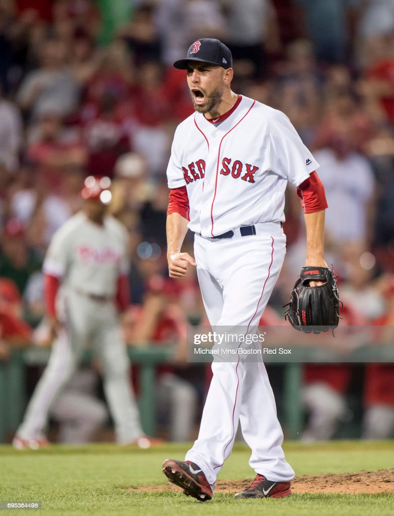 Matt Barnes #68 of the Boston Red Sox reacts after a strike out against the Philadelphia Phillies in the tenth inning at Fenway Park on June 12, 2017 in Boston, Massachusetts.
