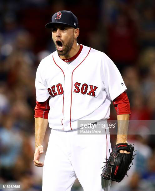 Matt Barnes of the Boston Red Sox reacts after pitching the eighth inning against the Toronto Blue Jays at Fenway Park on July 18 2017 in Boston...