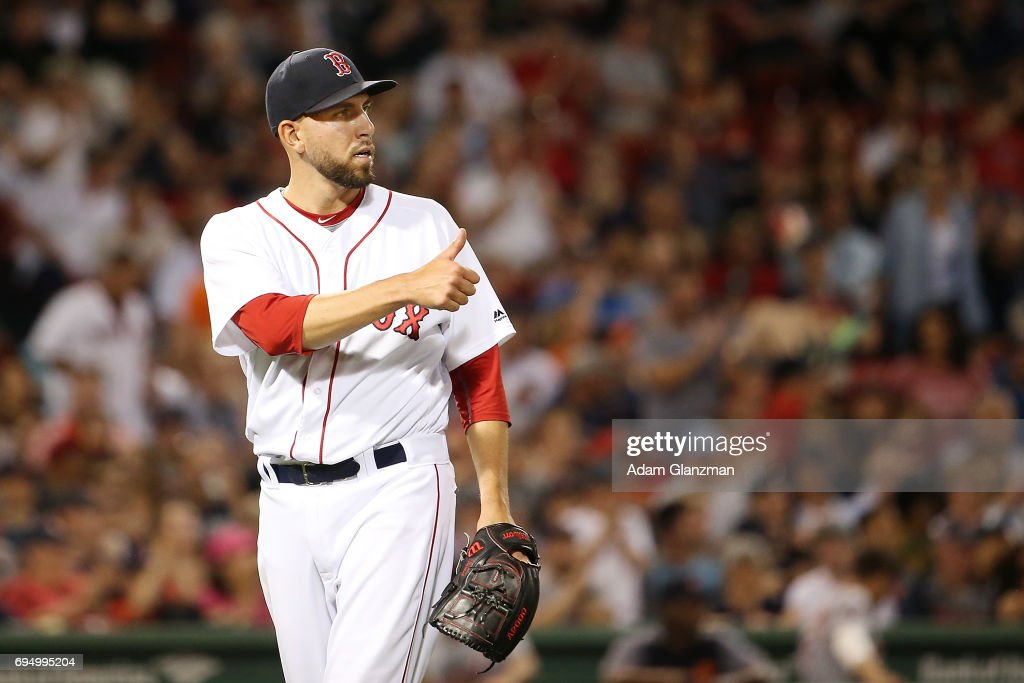 Matt Barnes #68 of the Boston Red Sox reacts in the eighth inning of a game against the Detroit Tigers at Fenway Park on June 10, 2017 in Boston, Massachusetts.