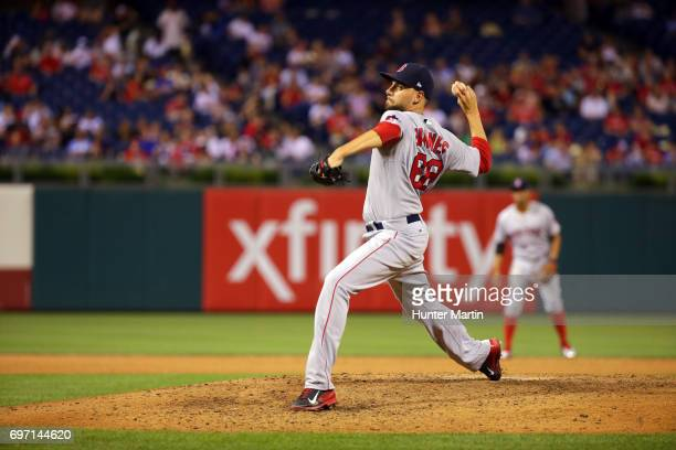 Matt Barnes of the Boston Red Sox throws a pitch during a game against the Philadelphia Phillies at Citizens Bank Park on June 14 2017 in...