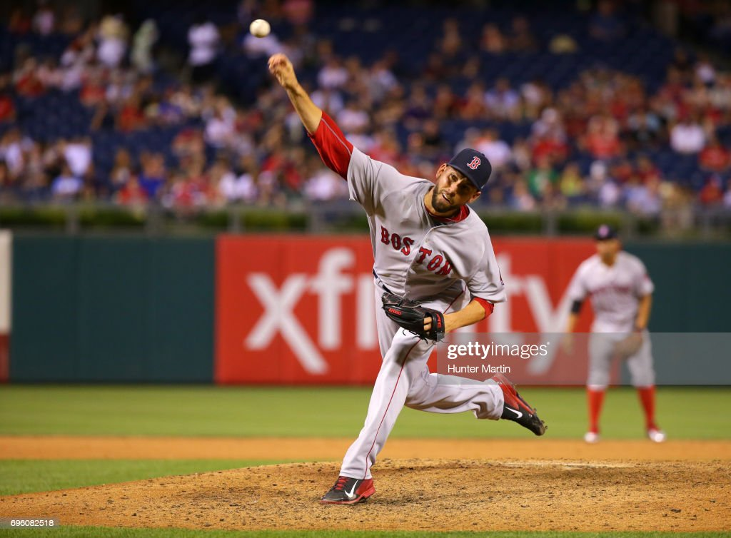Matt Barnes #68 of the Boston Red Sox throws a pitch in the eighth inning during a game against the Philadelphia Phillies at Citizens Bank Park on June 14, 2017 in Philadelphia, Pennsylvania. The Red Sox won 7-3. Photo by Hunter Martin/Getty Images)