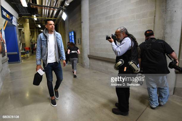 Matt Barnes of the Golden State Warriors arrives at the arena before Game Three of the Western Conference Semifinals against the Utah Jazz during the...