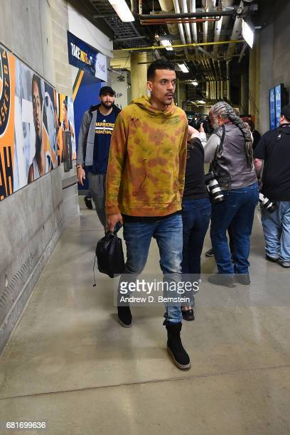 Matt Barnes of the Golden State Warriors arrives before Game Four of the Western Conference Semifinals of the 2017 NBA Playoffs on May 8 2017 at...