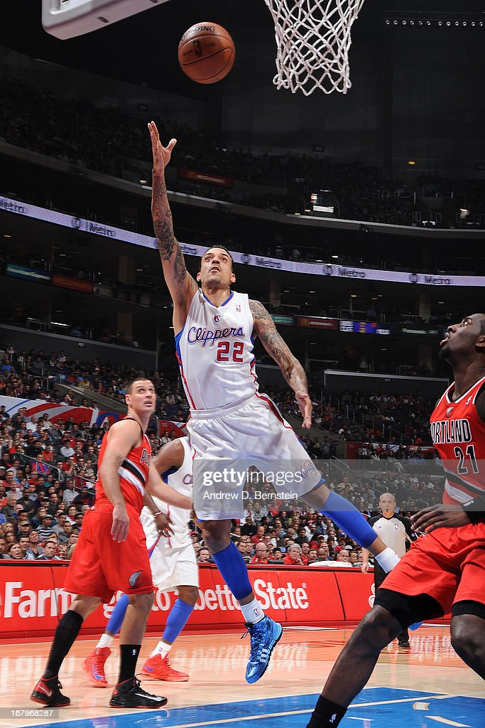 <a gi-track='captionPersonalityLinkClicked' href=/galleries/search?phrase=Matt+Barnes+-+Basketball+Player&family=editorial&specificpeople=202880 ng-click='$event.stopPropagation()'>Matt Barnes</a> #22 of the Los Angeles Clippers drives to the basket against the Portland Trail Blazers at Staples Center on April 16, 2013 in Los Angeles, California.