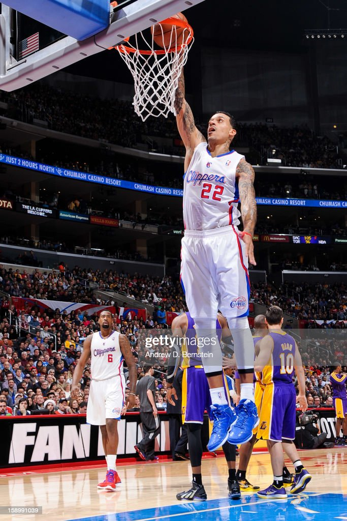 Matt Barnes #22 of the Los Angeles Clippers follows through on a dunk after play was stopped against the Los Angeles Lakers at Staples Center on January 4, 2013 in Los Angeles, California.