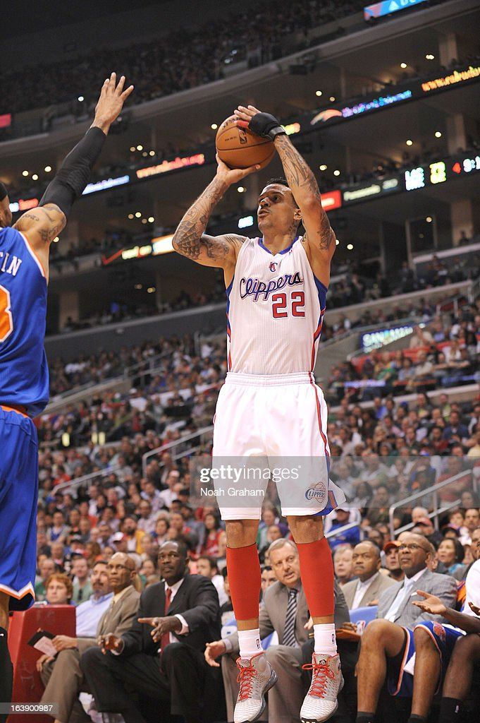 Matt Barnes #22 of the Los Angeles Clippers goes for a jump shot during the game between the Los Angeles Clippers and the New York Knicks at Staples Center on March 17, 2013 in Los Angeles, California.