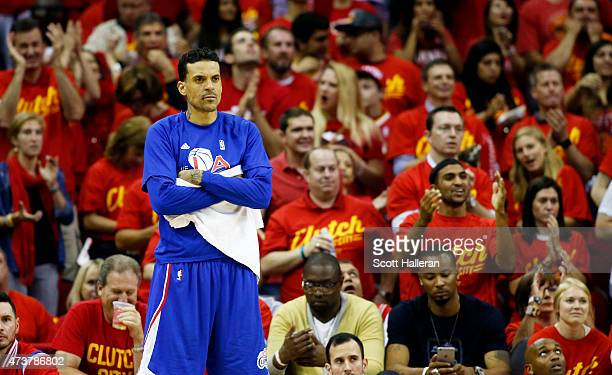 Matt Barnes of the Los Angeles Clippers reacts in the fourth quarter against the Houston Rockets during Game Seven of the Western Conference...