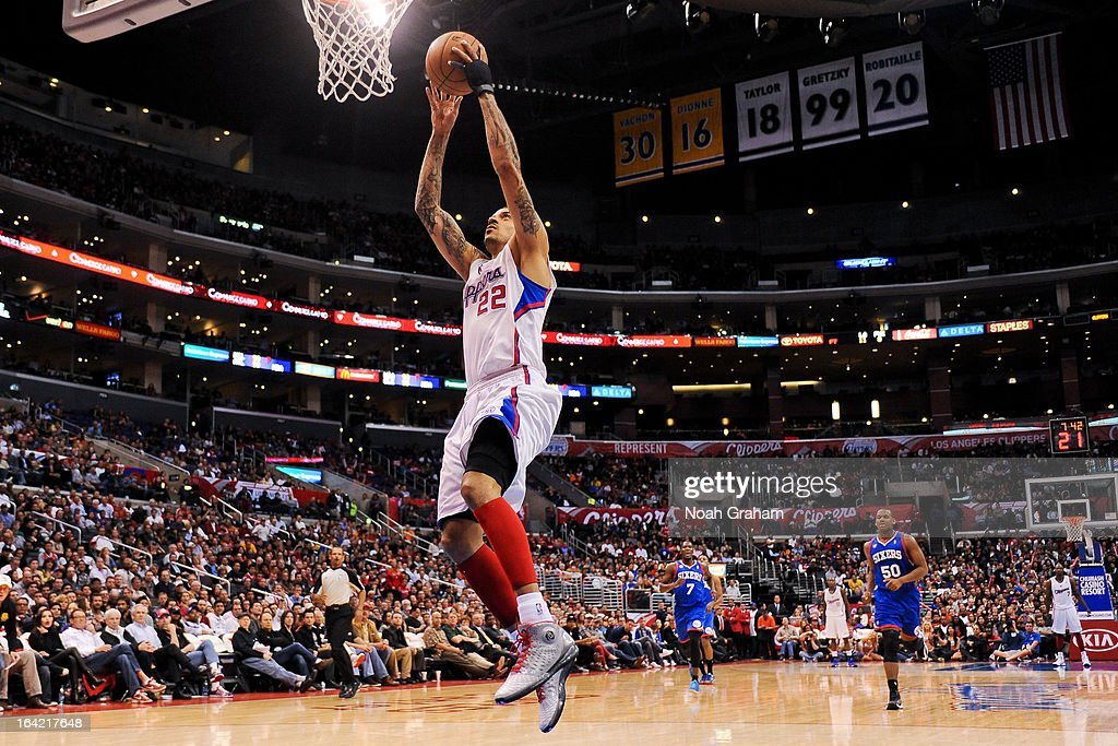 Matt Barnes #22 of the Los Angeles Clippers rises for a dunk on a fast break against the Philadelphia 76ers at Staples Center on March 20, 2013 in Los Angeles, California.
