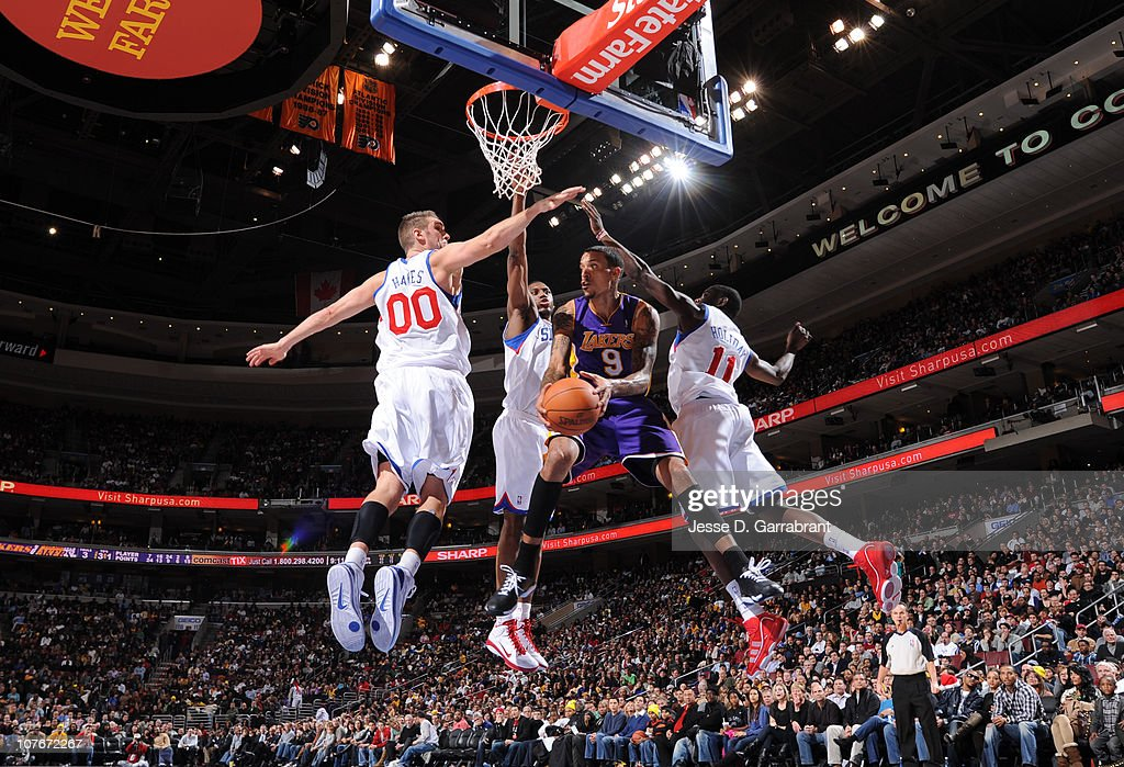 Matt Barnes of the Los Angeles Lakers shoots against the Philadelphia 76ers during the game on December 17 2010 at the Wells Fargo Center in...