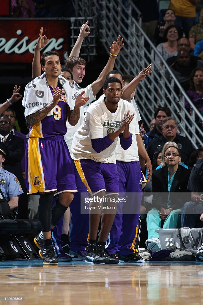 <a gi-track='captionPersonalityLinkClicked' href=/galleries/search?phrase=Matt+Barnes+-+Basketball+Player&family=editorial&specificpeople=202880 ng-click='$event.stopPropagation()'>Matt Barnes</a> #9 of the Los Angeles Lakers while on the bench celebrates a three point play with his teammates against the New Orleans Hornets on April 9, 2012 at the New Orleans Arena in New Orleans, Louisiana.
