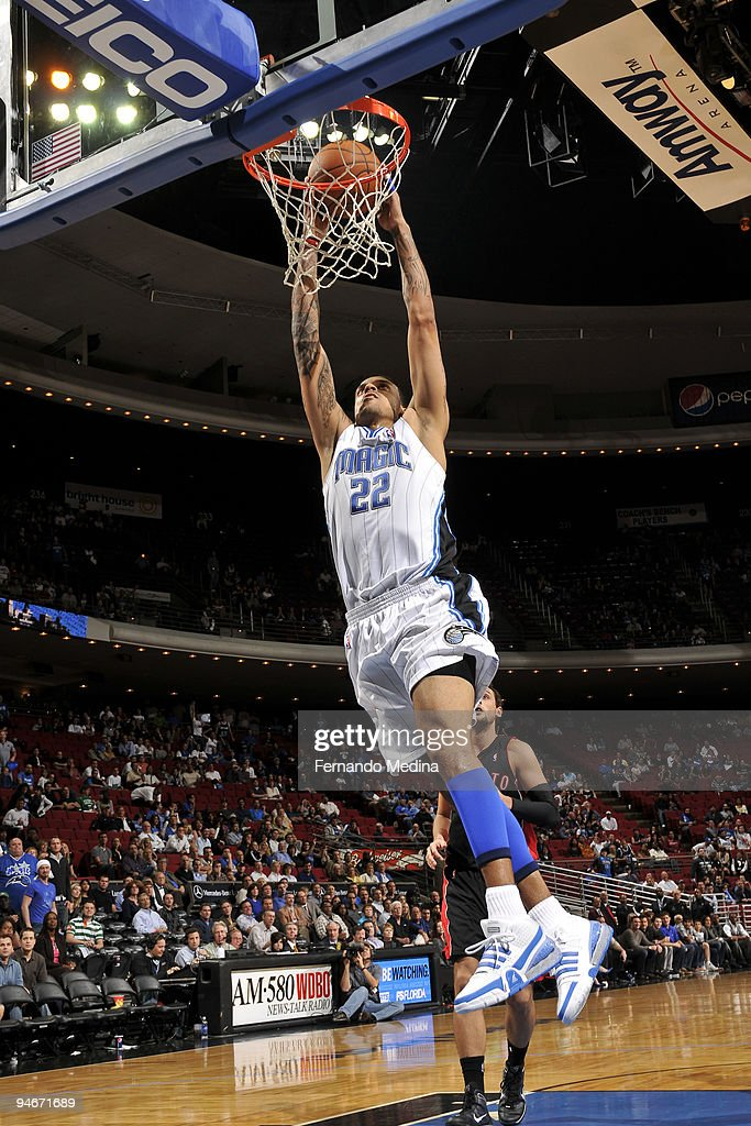 Matt Barnes of the Orlando Magic dunks during the game against the Toronto Raptors on December 16 2009 at Amway Arena in Orlando Florida NOTE TO USER...