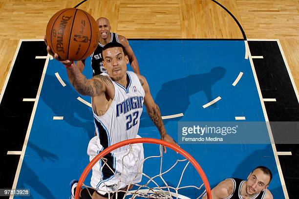 Matt Barnes of the Orlando Magic takes the ball to the basket against the San Antonio Spurs during the game on March 17 2010 at Amway Arena in...