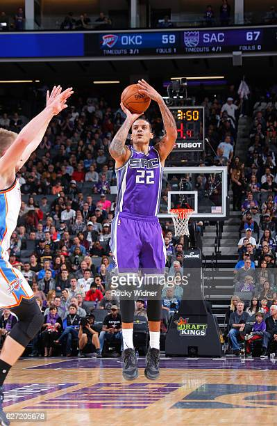 Matt Barnes of the Sacramento Kings shoots a three pointer against the Oklahoma City Thunder on November 23 2016 at Golden 1 Center in Sacramento...