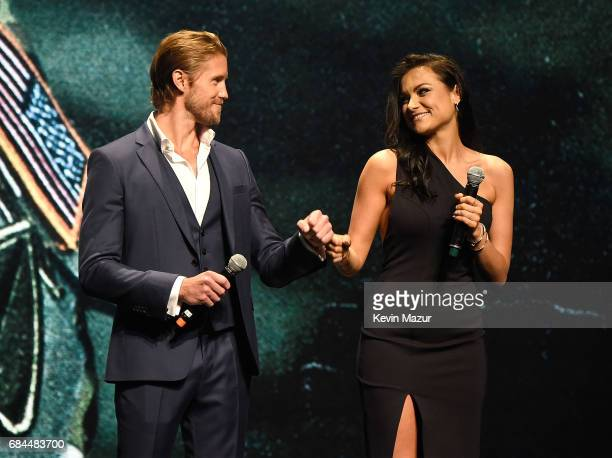 Matt Barr and Christina Ochoa speak onstage during The CW Network's 2017 Upfront at New York City Center on May 18 2017 in New York City