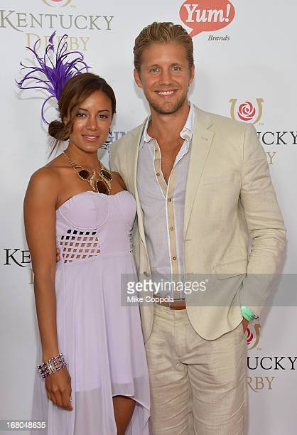 Matt Barr and Heather Hemmens celebrate the 139th Kentucky Derby with Moet Chandon at Churchill Downs on May 4 2013 in Louisville Kentucky