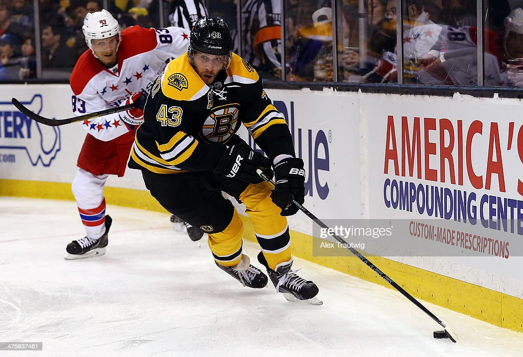 <a gi-track='captionPersonalityLinkClicked' href=/galleries/search?phrase=Matt+Bartkowski&family=editorial&specificpeople=7203779 ng-click='$event.stopPropagation()'>Matt Bartkowski</a> #43 of the Boston Bruins skates with the puck behind the net against the Washington Capitals during a game at the TD Garden on March 1, 2014 in Boston, Massachusetts.