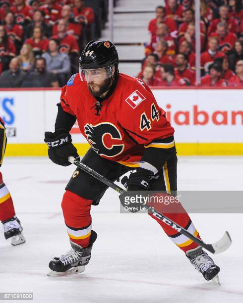 Matt Bartkowski of the Calgary Flames in action against the Anaheim Ducks in Game Three of the Western Conference First Round during the 2017 NHL...