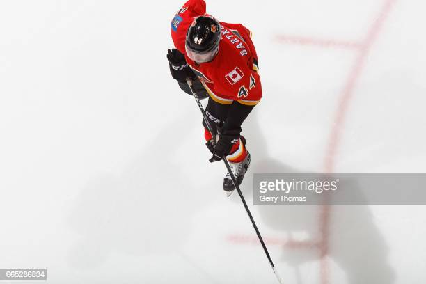Matt Bartkowski of the Calgary Flames skates against the Colorado Avalanche during an NHL game on March 27 2017 at the Scotiabank Saddledome in...