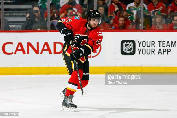 Matt Bartkowski of the Calgary Flames skates against the Dallas Stars during an NHL game on March 17 2017 at the Scotiabank Saddledome in Calgary...
