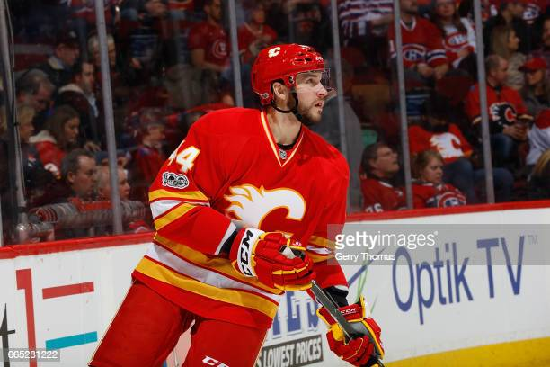 Matt Bartkowski of the Calgary Flames skates against the Montreal Canadiens during an NHL game on March 9 2017 at the Scotiabank Saddledome in...
