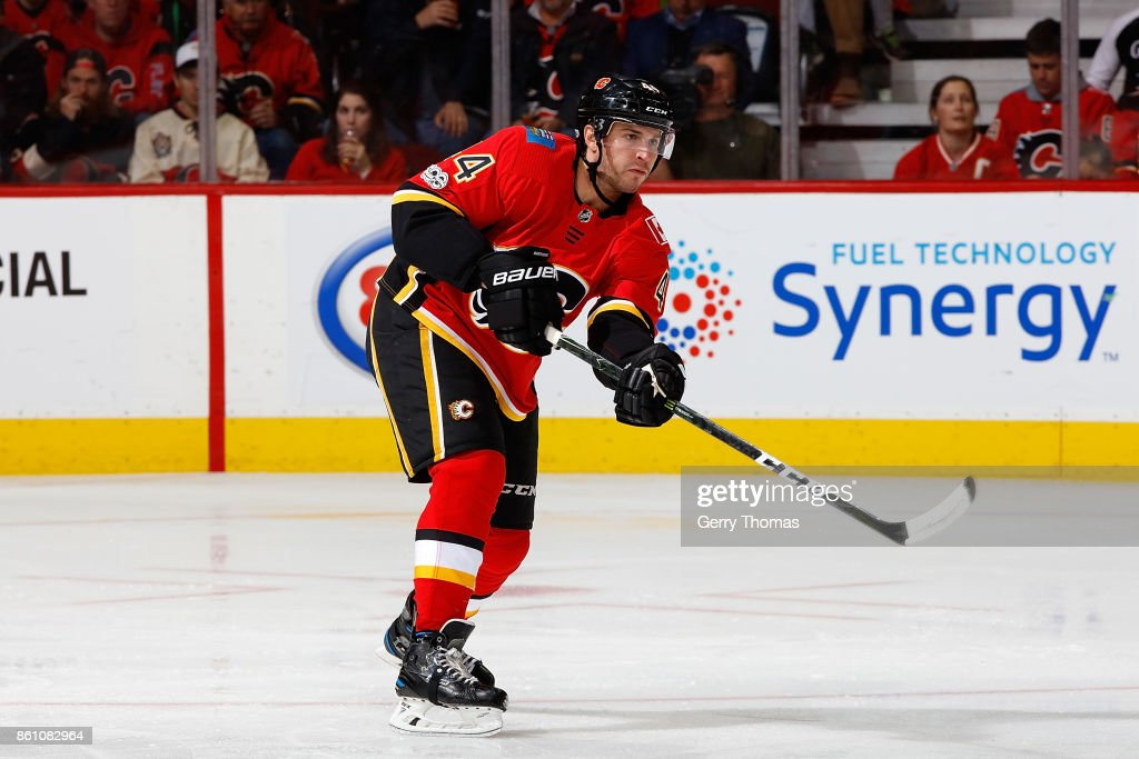 Matt Bartkowski #44 of the Calgary Flames skates against the Ottawa Senators during an NHL game on October 13, 2017 at the Scotiabank Saddledome in Calgary, Alberta, Canada.
