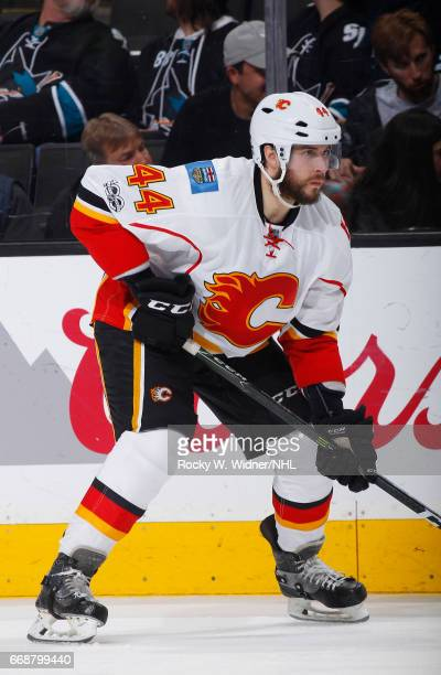 Matt Bartkowski of the Calgary Flames skates against the San Jose Sharks at SAP Center on April 8 2017 in San Jose California