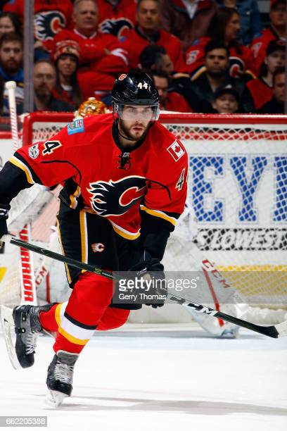 Matt Bartkowski of the Calgary Flames skates against the San Jose Sharks during an NHL game on March 31 2017 at the Scotiabank Saddledome in Calgary...