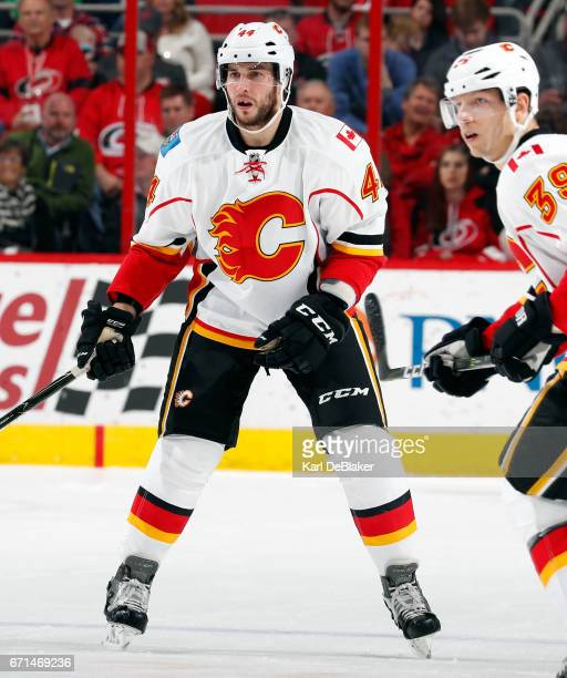 Matt Bartkowski of the Calgary Flames skates for position on the ice during an NHL game against the Carolina Hurricanes on February 26 2017 at PNC...