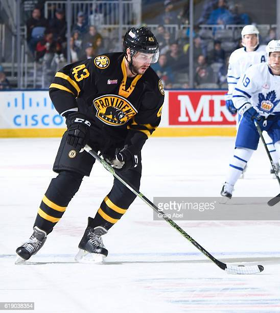 Matt Bartkowski of the Providence Bruins controls the puck against the Toronto Marlies during game action on October 26 2016 at Ricoh Coliseum in...