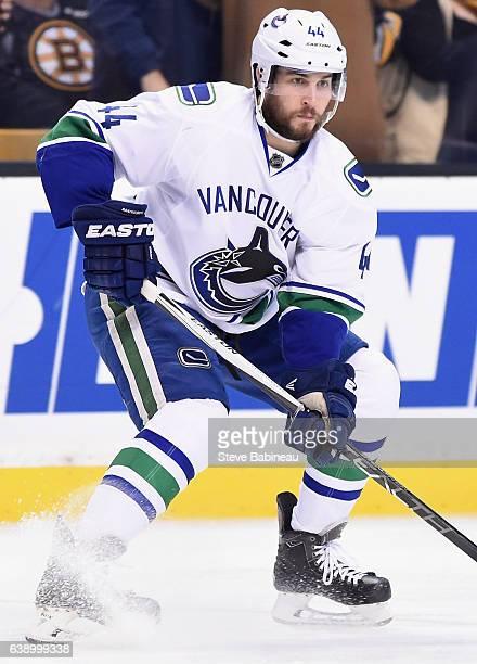 Matt Bartkowski of the Vancouver Canuacks plays in the game against the Boston Bruins at TD Garden on January 21 2016 in Boston Massachusetts