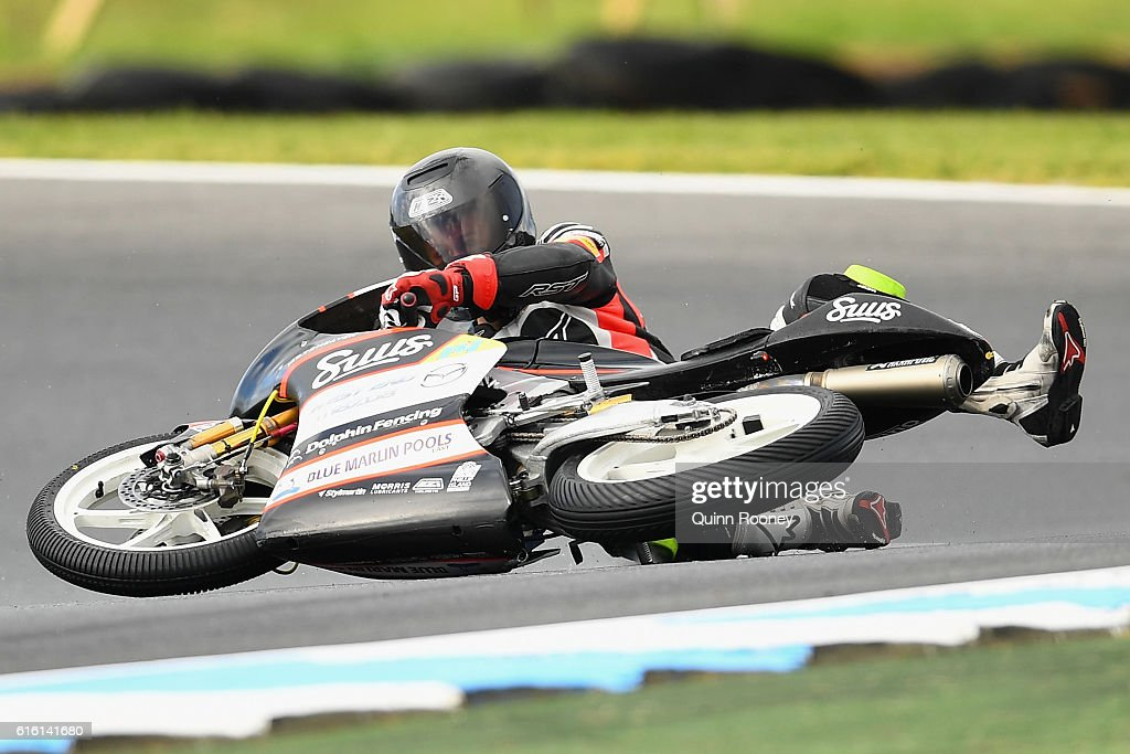Matt Barton of Australia and the Suus Honda crashes during Moto3 practise before qualifying for the 2016 MotoGP of Australia at Phillip Island Grand Prix Circuit on October 22, 2016 in Phillip Island, Australia.