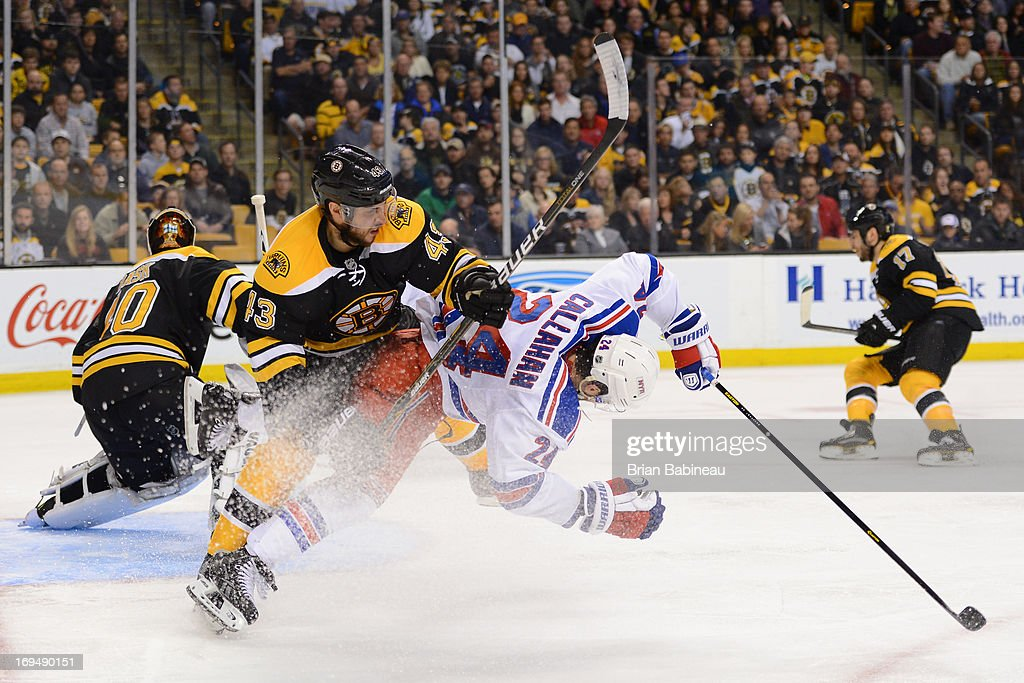 Matt Bartowski #43 of the Boston Bruins checks against <a gi-track='captionPersonalityLinkClicked' href=/galleries/search?phrase=Ryan+Callahan&family=editorial&specificpeople=809690 ng-click='$event.stopPropagation()'>Ryan Callahan</a> #24 of the New York Rangers in Game Five of the Eastern Conference Semifinals during the 2013 NHL Stanley Cup Playoffs at TD Garden on May 25, 2013 in Boston, Massachusetts.
