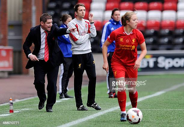 Matt Beard manager of Liverpool gestures during the Continental Cup match between Liverpool Ladies and Sunderland AFC Ladies at Select Security...