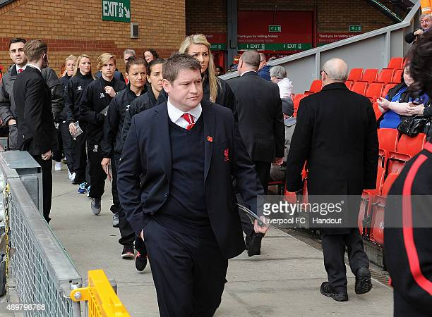 Matt Beard manager of Liverpool Ladies arrive before the memorial service marking the 26th anniversary of the Hillsborough Disaster at Anfield...