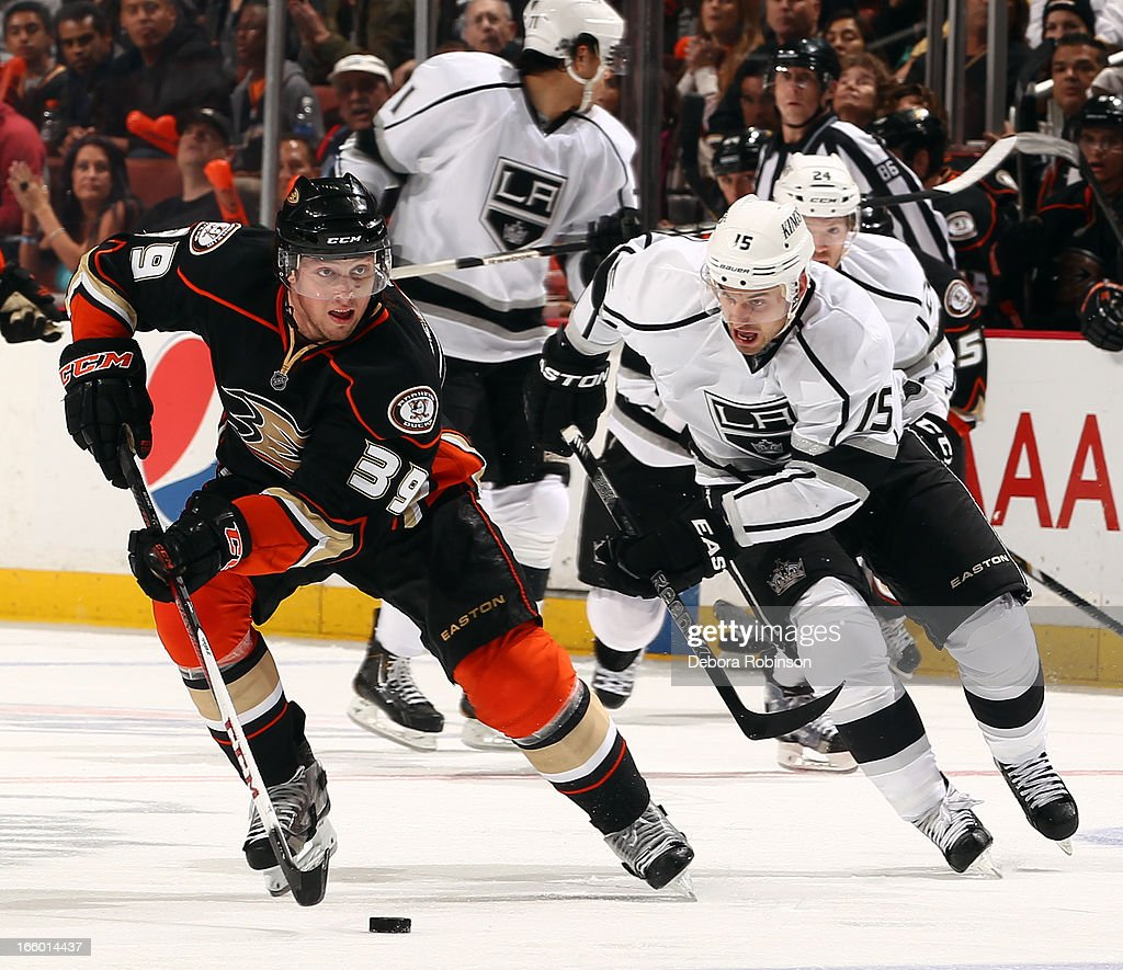 <a gi-track='captionPersonalityLinkClicked' href=/galleries/search?phrase=Matt+Beleskey&family=editorial&specificpeople=570471 ng-click='$event.stopPropagation()'>Matt Beleskey</a> #39 of the Anaheim Ducks handles the puck against <a gi-track='captionPersonalityLinkClicked' href=/galleries/search?phrase=Brad+Richardson&family=editorial&specificpeople=638058 ng-click='$event.stopPropagation()'>Brad Richardson</a> #15 of the Los Angeles Kings on April 7, 2013 at Honda Center in Anaheim, California.