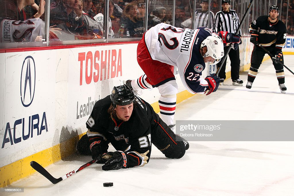 <a gi-track='captionPersonalityLinkClicked' href=/galleries/search?phrase=Matt+Beleskey&family=editorial&specificpeople=570471 ng-click='$event.stopPropagation()'>Matt Beleskey</a> #39 of the Anaheim Ducks handles the puck against Vinny Prospal #22 of the Columbus Blue Jackets on April 17, 2013 at Honda Center in Anaheim, California.