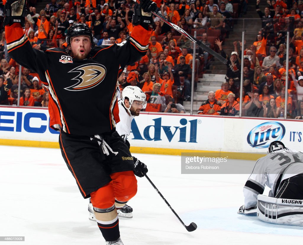 Matt Beleskey #39 of the Anaheim Ducks scores against the Los Angeles Kings in Game One of the Second Round of the 2014 Stanley Cup Playoffs at Honda Center on May 3, 2014 in Anaheim, California.