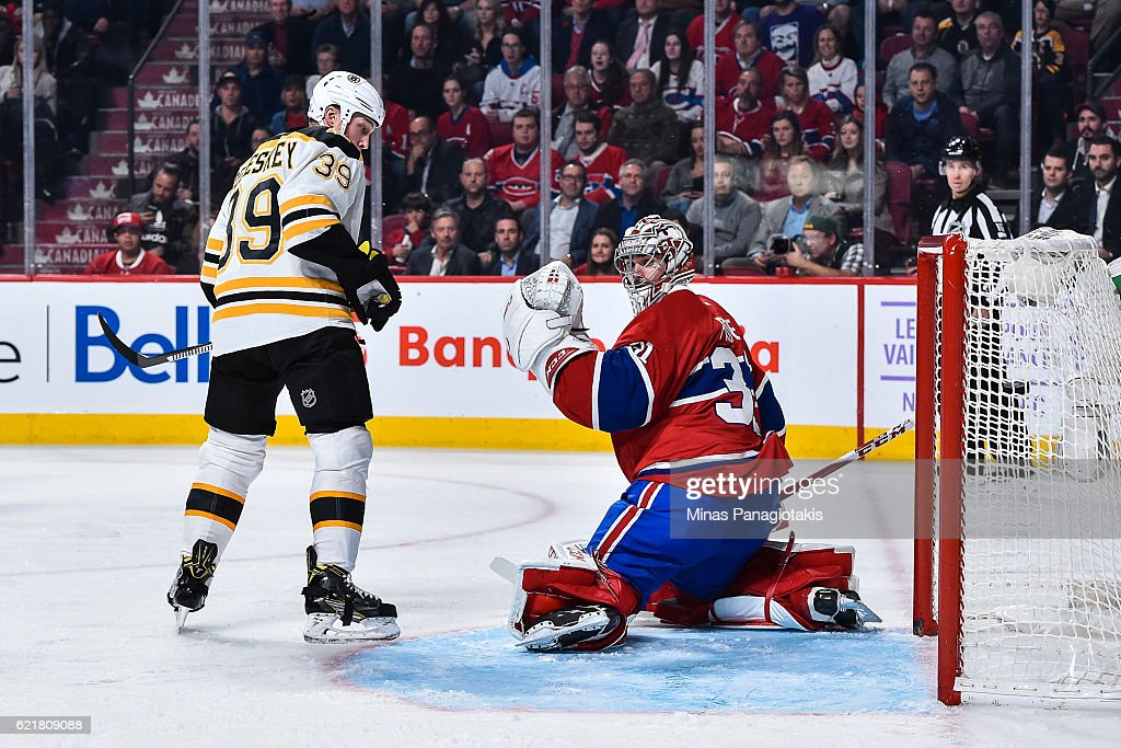 Matt Beleskey #39 of the Boston Bruins and Carey Price #31 of the Montreal Canadiens watch as the puck enters the net during the NHL game at the Bell Centre on November 8, 2016 in Montreal, Quebec, Canada. The Montreal Canadiens defeated the Boston Bruins 3-2.