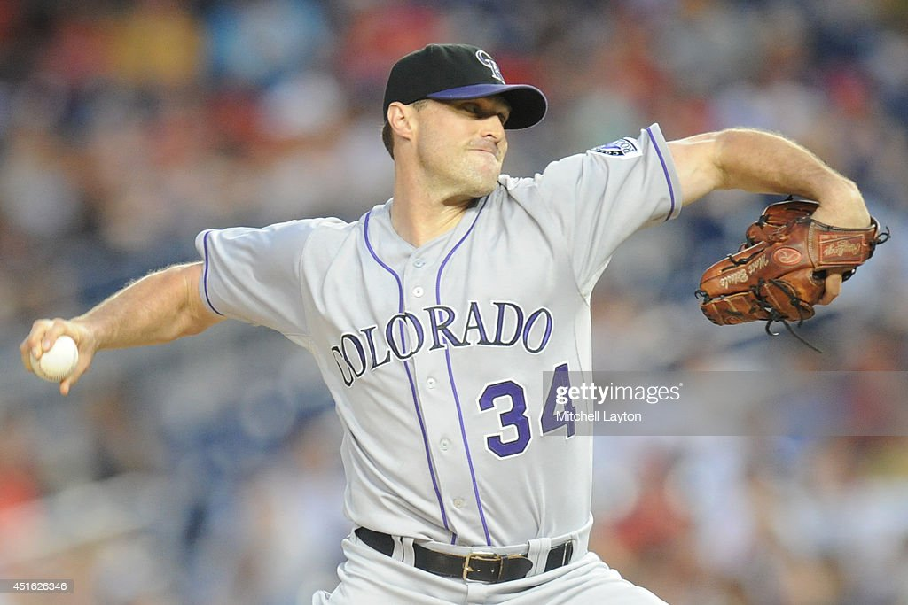 <a gi-track='captionPersonalityLinkClicked' href=/galleries/search?phrase=Matt+Belisle&family=editorial&specificpeople=666580 ng-click='$event.stopPropagation()'>Matt Belisle</a> #34 of the Colorado Rockies gives up the winning run on a Ian Desmond #20 of the Washington Nationals home run in the seventh inning during a baseball on July 2, 2014 at Nationals Park in Washington, DC. The Nationals won 4-3.