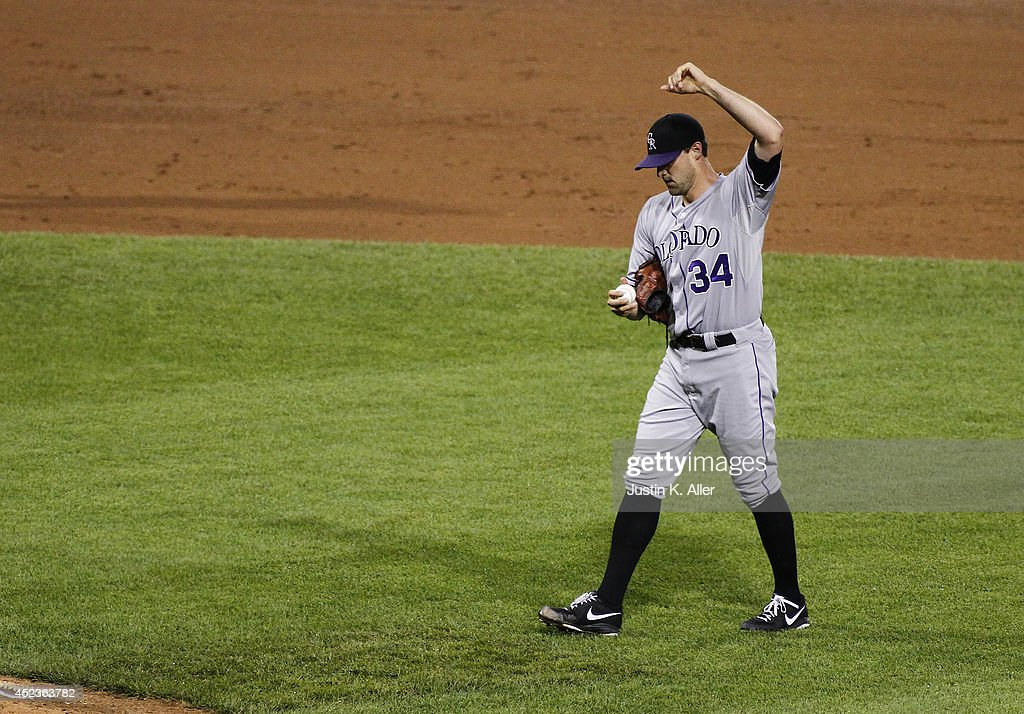 <a gi-track='captionPersonalityLinkClicked' href=/galleries/search?phrase=Matt+Belisle&family=editorial&specificpeople=666580 ng-click='$event.stopPropagation()'>Matt Belisle</a> #34 of the Colorado Rockies reacts after giving up a RBI double in the eighth inning against the Pittsburgh Pirates during the game at PNC Park July 18, 2014 in Pittsburgh, Pennsylvania.