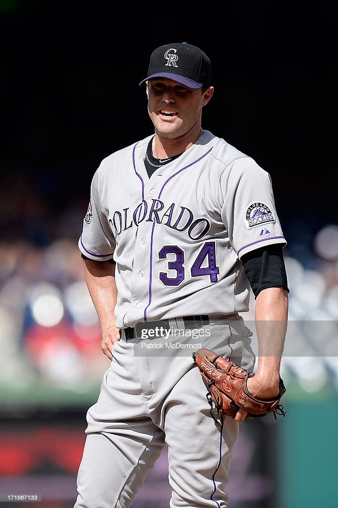 <a gi-track='captionPersonalityLinkClicked' href=/galleries/search?phrase=Matt+Belisle&family=editorial&specificpeople=666580 ng-click='$event.stopPropagation()'>Matt Belisle</a> #34 of the Colorado Rockies reacts during a game against the Washington Nationals at Nationals Park on June 23, 2013 in Washington, DC.