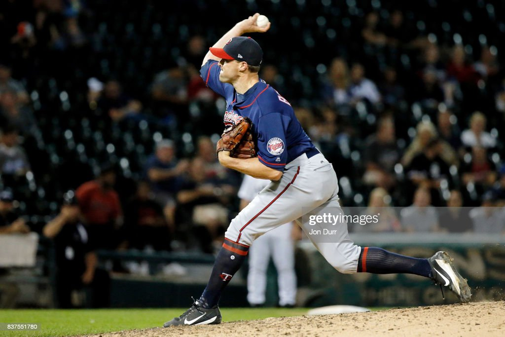 Matt Belisle #9 of the Minnesota Twins pitches against the Chicago White Sox during the ninth inning at Guaranteed Rate Field on August 22, 2017 in Chicago, Illinois. The Minnesota Twins won 4-1.