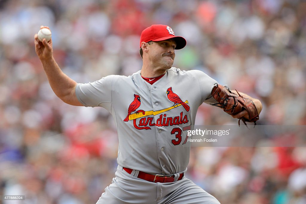 <a gi-track='captionPersonalityLinkClicked' href=/galleries/search?phrase=Matt+Belisle&family=editorial&specificpeople=666580 ng-click='$event.stopPropagation()'>Matt Belisle</a> #37 of the St. Louis Cardinals delivers a pitch against the Minnesota Twins during the game on June 18, 2015 at Target Field in Minneapolis, Minnesota. The Twins defeated the Cardinals 2-1.