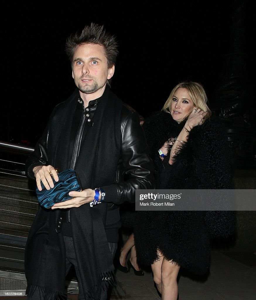 Matt Bellamy and <a gi-track='captionPersonalityLinkClicked' href=/galleries/search?phrase=Kate+Hudson&family=editorial&specificpeople=156407 ng-click='$event.stopPropagation()'>Kate Hudson</a> at the Warner Music in association with Vanity Fair BRITs aftershow party at The Savoy Hotel on February 20, 2013 in London, England.
