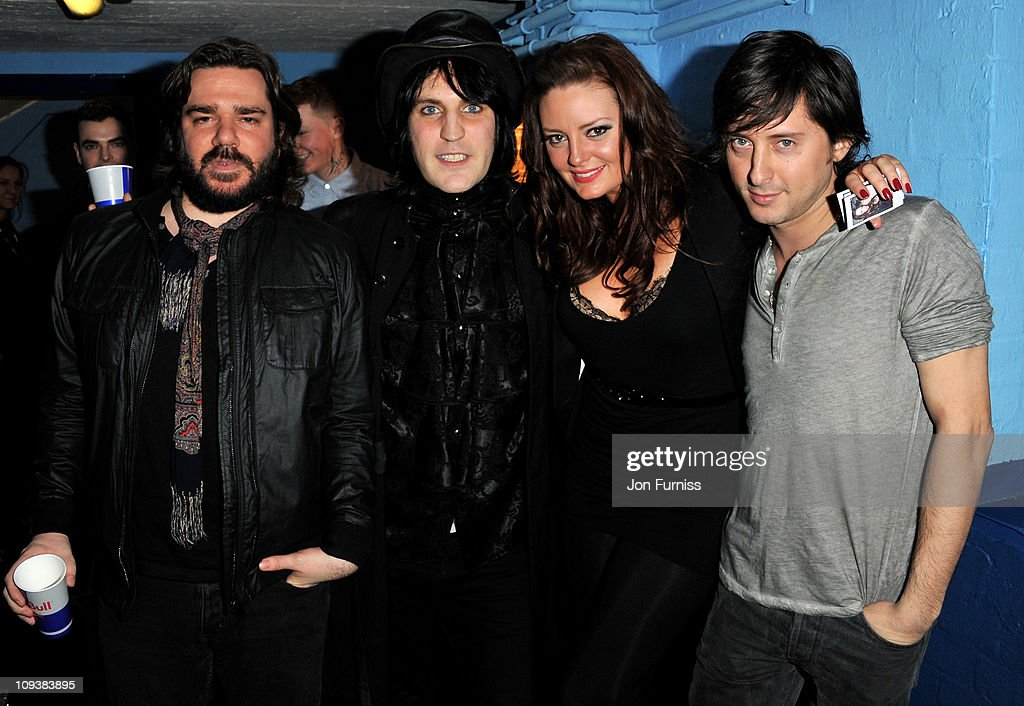 Matt Bellamy, Noel Fielding and Carl Barat pose backstage during the NME Awards 2011 at Brixton Academy on February 23, 2011 in London, England.