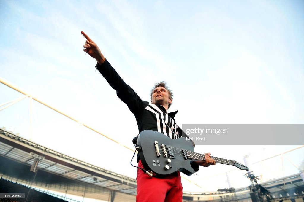 Matt Bellamy of Muse performs at Emirates Stadium on May 25, 2013 in London, England.