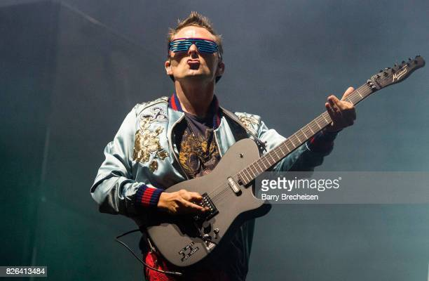Matt Bellamy of Muse performs during the 2017 Lollapalooza Day One at Grant Park on August 3 2017 in Chicago Illinois