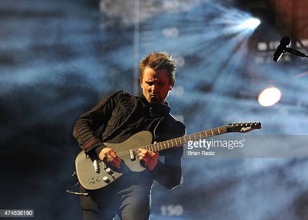 Matt Bellamy of Muse performs on stage during BBC Radio 1's Big Weekend at Earlham Park on May 23 2015 in Norwich England