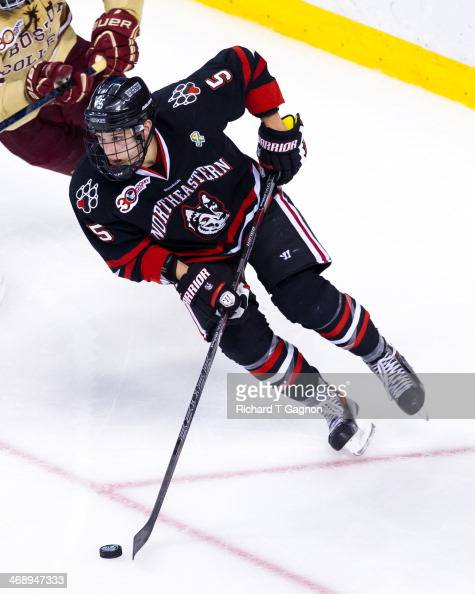 Matt Benning of the Northeastern University Huskies skates against the Boston College Eagles during NCAA hockey action in the championship game of...